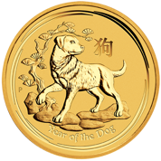 Rok Psa 10 Uncji Złota 2018  seria LUNAR II (Year of the Dog Gold Bullion Coins 2018)