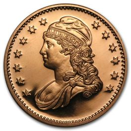 Capped Bust 1 uncja Copper Round